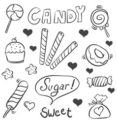 doodle of sweet candy sketch collection stock vector image