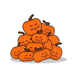 pile of pumpkins for halloween lot of vegetables vector image