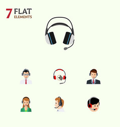 Flat hotline set of operator secretary help and vector