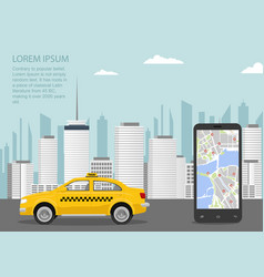 Taxi cab smartphone and taxi service application vector
