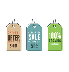 Set of line art sale price tags banners stickers vector