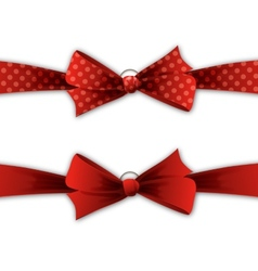 Red polka dot bow and ribbon vector image