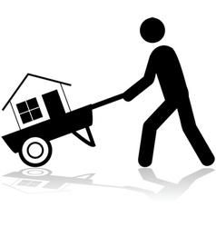 House on a wheelbarrow vector