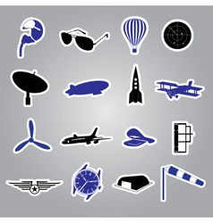 Aeronautical icons stickers eps10 vector