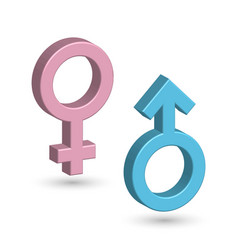 3d male and female symbols in blue and pink color vector image vector image
