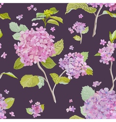 Vintage Hydrangea Background - seamless pattern vector image