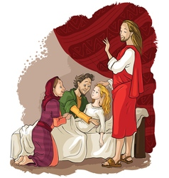Miracles of jesus raising of jairus daughter vector