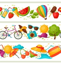 Seamless patterns with stylized summer objects vector