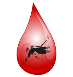 Mosquito in drop of blood vector