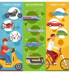 Transport dreams vertical banners set vector