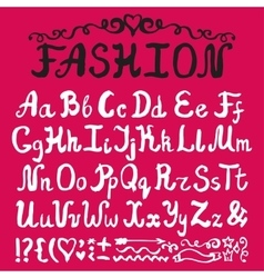AlphabetInk Hand drawn lettersFashion style vector image