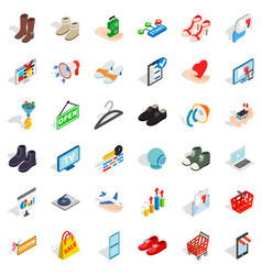 Basket icons set isometric style vector