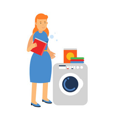 beautiful young redhead woman doing laundry vector image