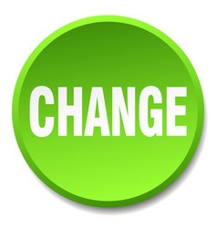 Change green round flat isolated push button vector