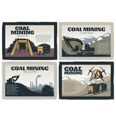 Coal Mining Designs Set vector image