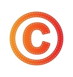 Copyright sign orange applique vector