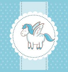Cute unicorn wings animal magic card dots vector