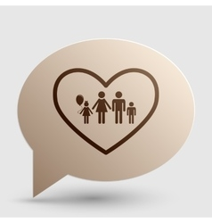 Family sign in heart shape Brown vector image vector image