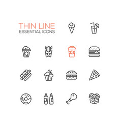Fast food cafe menu icons set vector