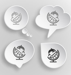 Globe and shamoo White flat buttons on gray vector image