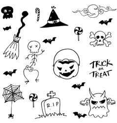 Halloween scary in doodle set vector