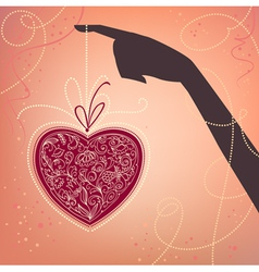 hand and heart valentines day card vector image vector image
