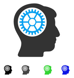 Head cogwheel flat icon vector