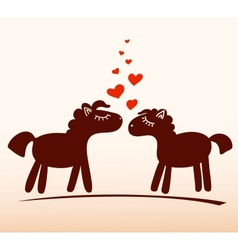 Horses in love vector
