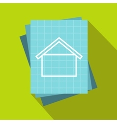 House blueprint icon flat style vector image
