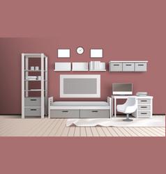 Living room realistic interior vector