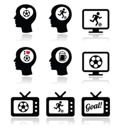 Man loving football or soccer icons set vector
