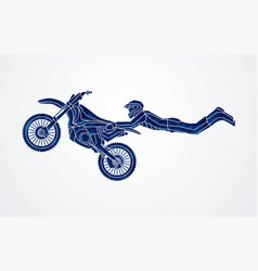 Motorcycle cross jumping freestyle motocross vector