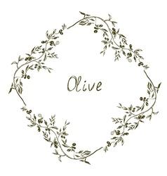 Olive frame hand drawn design vector image