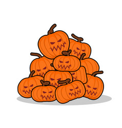 Pile of pumpkins for halloween lot of vegetables vector