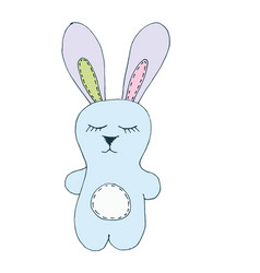 Print with cute bunny toy vector