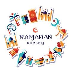 Ramadan Kareem icons set vector image vector image
