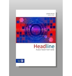 Red blue cover design with futuristic hud circles vector
