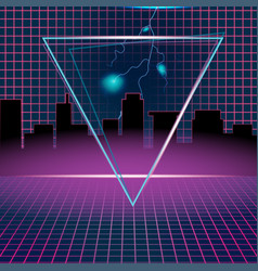 Retro neon background design triangle vector