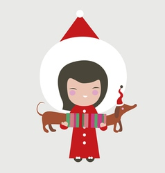 Santa girl with dog vector