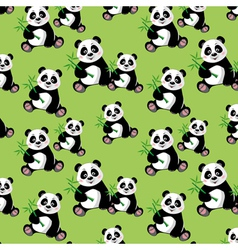 Seamless pattern with sitting cute panda and bambo vector