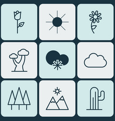 Set of 9 harmony icons includes forest cactus vector