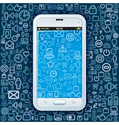 Smartphone on Web Pattern vector image