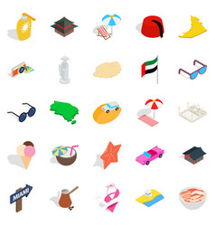 Social behavior icons set isometric style vector