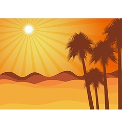 Sunset in the desert with palm tree vector image vector image