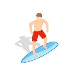 Surfer man on surfboard icon isometric 3d style vector