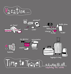 Time to travel doodle grey tone vector