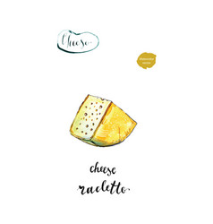 Watercolor piece of cheese raclette vector