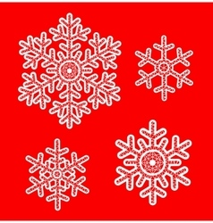 White lace snowflakes vector