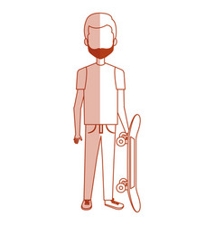 Young man with skateboard casual avatar vector