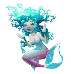 Young mermaid with white background vector image vector image